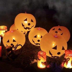 Halloween brilhando balões de festa decoração suprimentos abóbora balão com luzes festival fantasma decorações de férias crianças brinquedos hwf8790