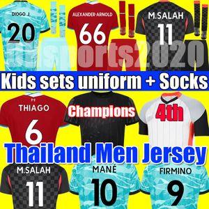 Champion anniversary Liverpool THIAGO M SALAH quatrième 4ème maillot de football kits de football chemise ALEXANDER ARNOLD MANE KEITA MILNER hommes enfants ensembles chaussettes