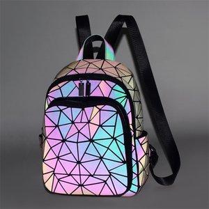 The Latest Diamond Lattice Women Backpack Purse Kawaii Gray Luminous Travel Backpack Fashion Girls Boys School Bags JC10171 210312