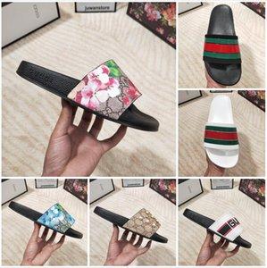 2021 Дизайнерские Мужчины Женщины Сандалии С Правильной Цветочной Коробкой Пылевая сумка Обувь Змея Печать Слайд Слайд Летний Широкий Плоский тапочки 35-48