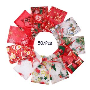 Christmas Candy Organza Bag Drawstring Pouches Gauze Yarn Candy Gift Bag Jewelry Packaging Bags Xmas Decoration Packing Bags WLL334
