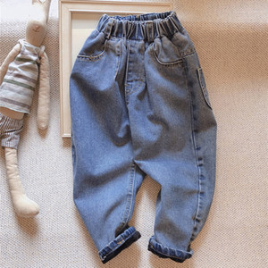 2021 New Cold Winter Warm Veet Clothes Jeans for 1 2 3 4-year-old Children Birthday Girls Baby Cloth Jaan Pants S38s