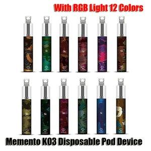 Auténtico kit de dispositivo de vaquera desechable de Memento K03 con luz RGB 850mAh Batería 1500 Puff Precepled Cartridge Vape Pen Original vs Bar Plus