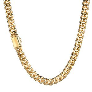 Chains 12mm Wide Hip Hop Gold Silver Color Stainless Steel Round Cuban Miami Link Chain Necklace For Men Rapper Jewelry
