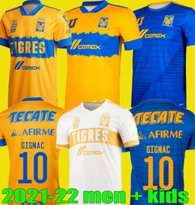 2021 2022 Mundial de Clubes Uanl Tigres Gignac Fútbol Jerseys Men Kits Kits 20 21 Vargas Home Away Tercer Pizarro México Camisetas de fútbol
