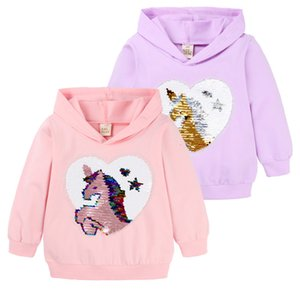 2021 Girls Unicorn Hooded Sweater Shirt Spring Autumn Long Sleeve Sequins Pink Purple New Style for Kids 3rtb