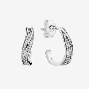 Clear CZ Pietra Pavy Wave Hoop orecchini Sparkling da donna Sparkling Regalo di nozze con scatola originale per Pandora 925 Sterling Silver Set di orecchini