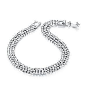 Luxo Três linhas pulseira de casamento para mulheres milticolor 2mm cúbico zircônia rosa cor de ouro preto moda jóias kc116