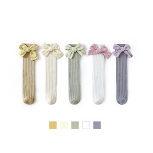 Girls Socks Baby Socks Cotton Kids Knit Knee High Socks Bowknot Princess Baby Clothes Baby Accessories Cute Girls Wear 0-6Y B4154