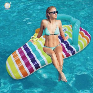 150cm inflatable stripe pattern slipper pool float swim buoy swimming circle Air Mattress water toys for child adult beach party