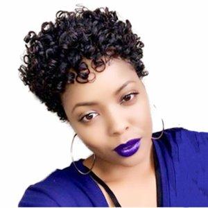 Afro Kinky Curly Human Hair Short Wigs For Woman Brazilian Full Machine Made Wig