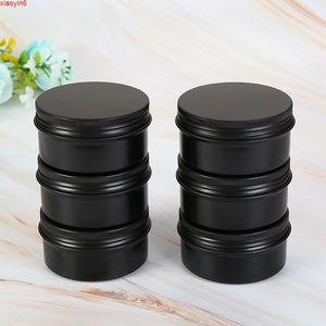 10 50 60ml Black Aluminum Jar Empty Small Lip Oil Cosmetic Eye Cream Travel Refillable Bottle Batom Lotion Tin Container 50pcshigh qualtity