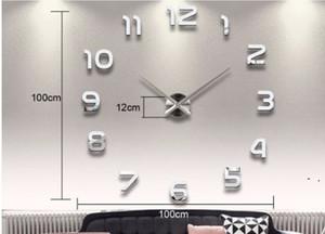 تزيين المنزل عدد كبير مرآة مرآة ساعة الحائط التصميم الحديث ساعة الحائط كبيرة 3d ووتش جدار هدايا فريدة من نوعها owb5336