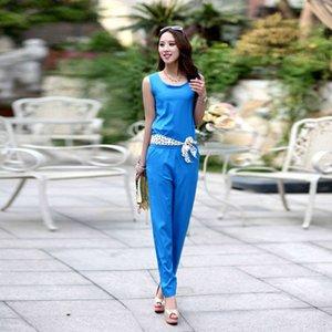 Primavera e verão coreano mulheres sólida xia xianshou macacão grande calça casual