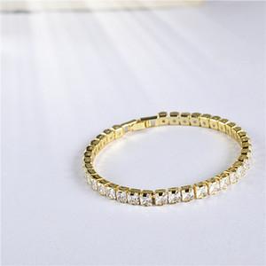 Hip Hop Jewelry Mens Square Cubic Zirconia Tennis Bracelet Chain 1 Row Gold Color CZ Bracelet Link Birthday Gift