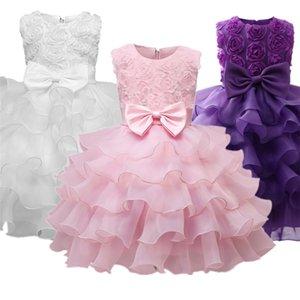Hiver bébé filles manches longues princesse dentelle robe de dentelle 1ère tenue de fête d'anniversaire pour le costume de fleur pour bébé enfant enfant 24 mois vêtements 210312
