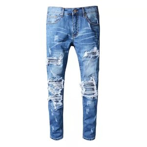 Mens Jeans Hip Hop Pants Stylist Jeans Distressed Ripped Biker Jean Slim Fit Motorcycle hot sale Top Quality Brand Denim Jeans