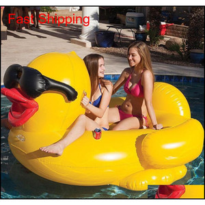 Pool Float Raft 82.6 * 70.8 * 43.3 дюйма Плавательная желтая утка FLOBS RATT Утолщение гигантской ПВХ надувной утиный бассейн поплавки QYLXCQ TOYS2010