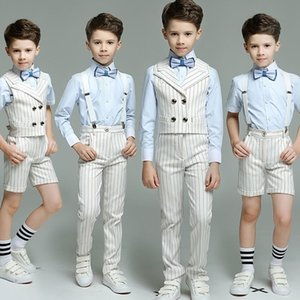 Kids Boy Double Breasted Striped suit 4pcs(Strap Vest+Pants+Shirts+Bow tie) for Wedding Performance Birthday Fashion Blazers T200819