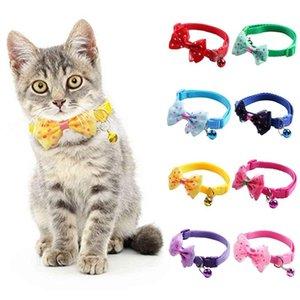 Ayarlanabilir Evler Köpek Kedi Yavru Yaka Naylon Çan Kitten Güvenlik GESP Bowtie Küçük Medya Evcil Hayvanlar için Strike Nelaces