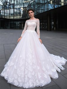 Bateau Lace Appliques A-Line Wedding Dresses 2021 Modest Long Sleeves Modest Bridal Dress Zipper Back With Button Garden Robe De Novia