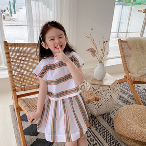 free shipping Summer Kids Girls Dress Sweet 2021 tops Baby Striped Dresses Children Girls short sleeve clothing