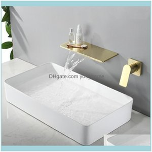 Faucets, Showers As Home & Gardenwaterfall Faucet Brushed Gold Wall Mounted Bathroom Bathtub Large Shelf Platform Basin Water Mixer Quality