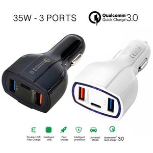 QC3.0 Dual USB Car Charger 2 Port Charger type c USB Plug Universal Charging Adapter Type C Fast Charger Quick Charging Cellphone
