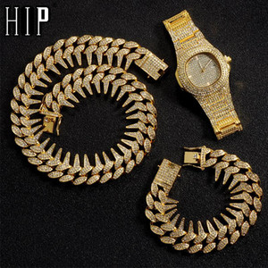 Hip Hop 25MM 3PCS KIT Heavy Watch+Thorns Necklace+Bracelet Bling Crystal + Iced Out Cuban Rhinestones Chains For Men Jewelry