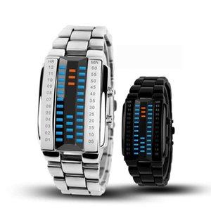 Couple Watch Steel Belt Wris Watch Digital LED Display 30M Waterproof Wrist For Watches Men Women Lover 's Wristwatch Bracelet