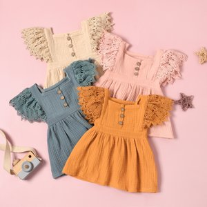 Newest INS Little Girls Dresses Sleeveless Lace A-line Blank Organic lLinn Cotton Summer Autumn Children Girls Dresses 1-5T