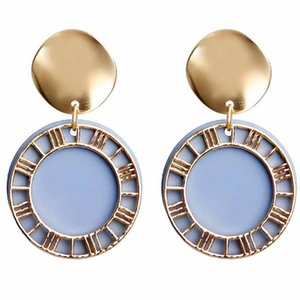 Dangle & Chandelier Roman Numeral Earrings For Woman Metal Round Hollow Disc Drop Candy Color Ear Cuff Trendy Trinket Accessories