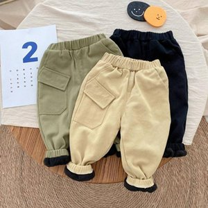 Trousers Boys Kids Casual Pant Autumn Warm Winter Children Baby Velvet Thicken Simply Long Pants ADK739