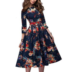 2021 Knee-length Dress Women Casual New Arrival Long Sleeve Printing Summer Dress for ical Lady Women Loose Vestidos Hx1219