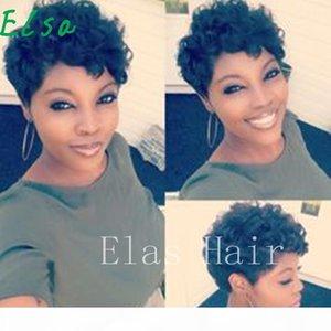 Top Grade Kurzer lockiger schwarzer nette Perücke afrikanische Afro-menschliche Haarperücken für schwarze Frauen lockige kurze weibliche Perücke