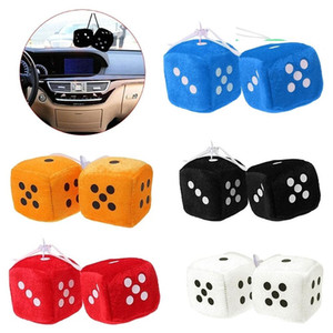 Hot sale Stylish 2Pcs Car-Styling Fuzzy Dice Dots Rear View Mirror Hanger Decoration Auto Accessories Interior car Ornaments