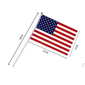 Mini America National Hand Flag 21 * 14 سم الولايات المتحدة النجوم وأعلام المشارب للحصول على الاحتفال بالمهرجان الإنتخابات العامة CJ11