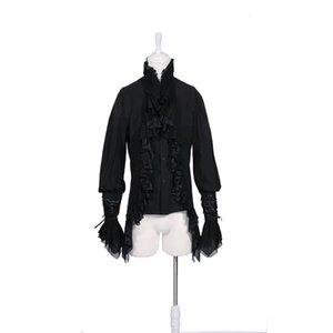 Camicia manica lunga uomo Camicetta Gothic Man Tops Autunno Party Mens Camicia Black Bianco Uomini Camicie di alta qualità moda