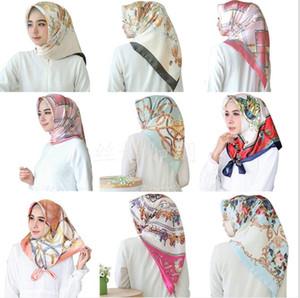 Sciarpe Fahsion Kerchief Silk Satin Hijab Sciarpa per le donne Stampa floreale Stampa Sciarpe Sciarpe Femmina 90 * 90 cm Scialli e impacchi sciarpe KKC6045