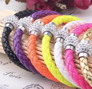 LVB3 Colorful Leather Base Chain Fit Charms Bracelet Girls Mujer Rope Bangles AL