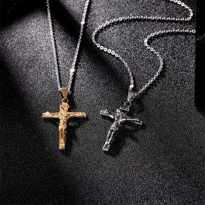 Vintage Edelstahl Herren Halskette Religiöse Glaube Kreuz Halsketten Schmuck Gold Kubanische Link Kette Jesus Crucifix Anhänger Halskette 220 Q2