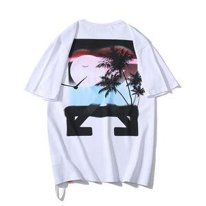 19ss ow Yunanistan Sınırlı Günbatımı Hindistan Cevizi Ok 3D Baskılı Kısa Kollu T-shirt Severler Baolin