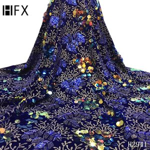 HFX 2021 High Quality Lace Latest African Sequin Lace Fabric Embroidery Fabric Velvet Sequins Party Dress F2941