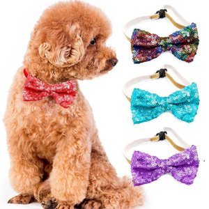 New Pet tie Sequins Dog Ties Collar Bow Flower Accessories Decoration Supplies Fashion color Bowknot Necktie