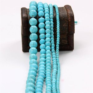 Blue Blue Turquesa Pedra Beads Round Spacer Beads Findings 4/6/8/10/20 mm para jóias Fazendo Material de Bead de artesanato DIY 370 T2