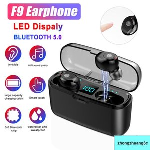 F9 5.0 TWS Bluetooth Mini Earphone HIFI Stereo Fingerprint Touch Mic Wireless Earbuds Headphones with LED Digital Charging Retail Box