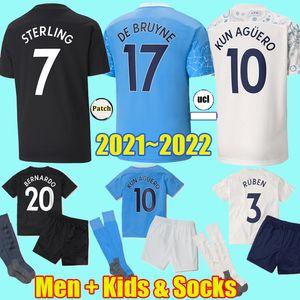 2021 2022 Uomo BERNARDO RUBEN Sterling De Bruyne Kun Aguero maglie da calcio da città 21 22 Jesus FERRAN maglie da calcio per bambini Kit Calze Uniformi