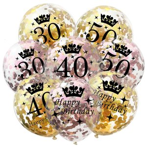 30 Clear Latex Balloon Happy 40 50 Birthday 60 year Anniversary Rose Gold Silver Confetti Party Decor Adult ball 12inch CNY2099