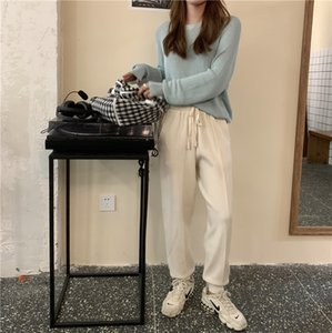 New 2021 Knitted High Waist Women Ankle-length Harem Trousers Solid Casual Drawstring Spring Autumn Carrot Pants 8JCZ