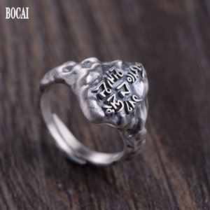 2021 New Pure S925 Sier Jewelry Retro Ship Fashion Six-character Mantra Good Luck Open Woman Ring Od48